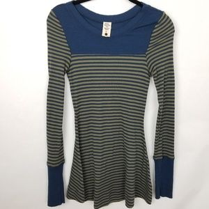 Free People Striped Thermal Skater Style Dress Md